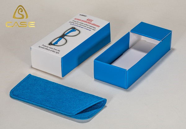 Glasses Paper Box and Case with Felt Eyewear Pouch