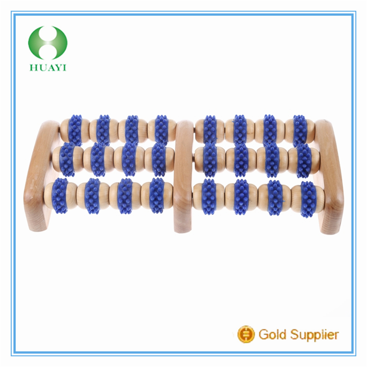 Latest new bright blue wooden foot massager roller