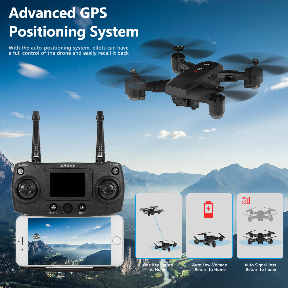 S30 1080P HD Wifi FPV RC Selfie Drone GPS Positioning Follow Altitude Hold Foldable Quadcopter For B
