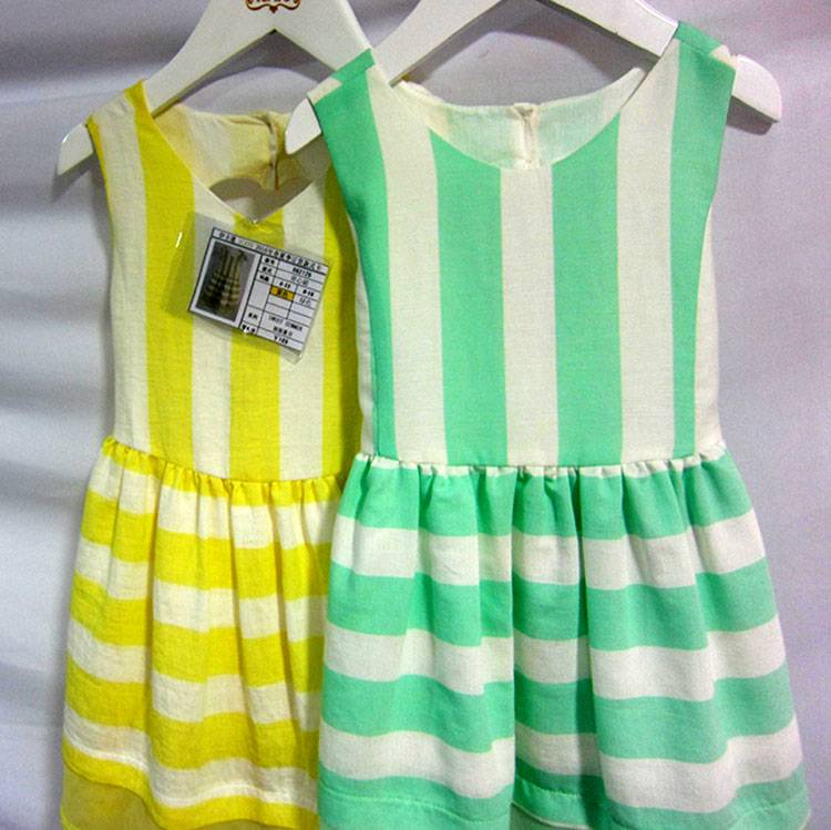 Sleeveless A-line Baby Girls Fashion Printed Cotton Striped Summer Dress MY337