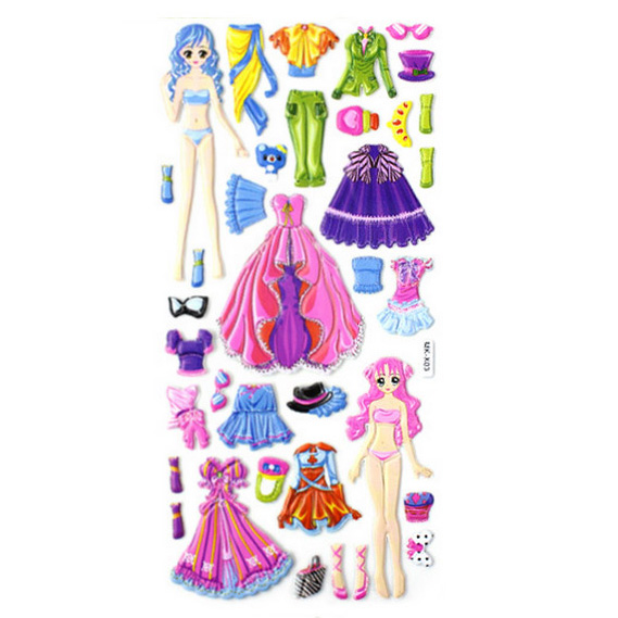 3D Dress Up Girl Puffy Stickers