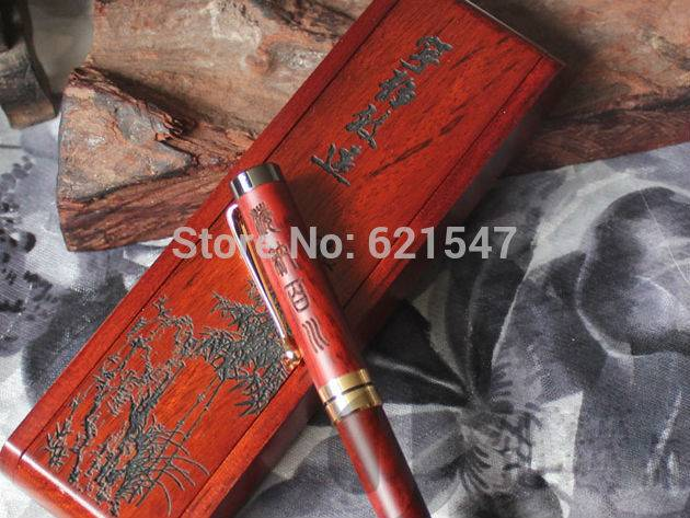 Free laser engraving custom logo Eco friendly rosewood ball pen with double use case