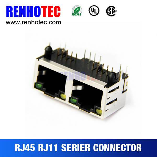 1 X 2 Port Right Angle DVR RJ45 dual Port without LED