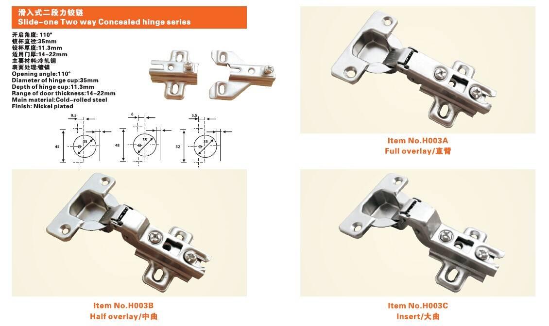 Slide-one Two way Concealed hinge series