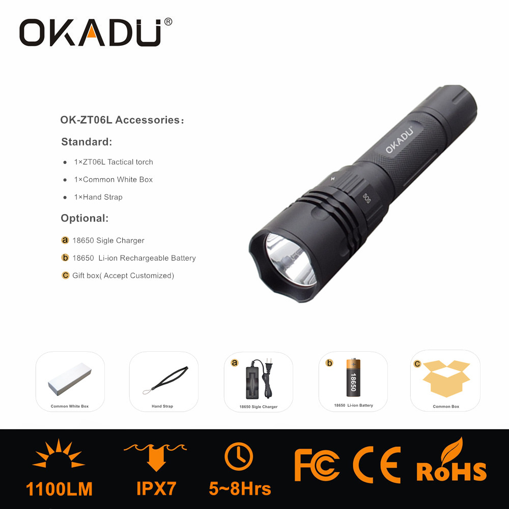 OKADU ZT06L 2017 New Design LED Flashlight Power by 18650 Battery 1100Lumens Cree LED Tactical Torch