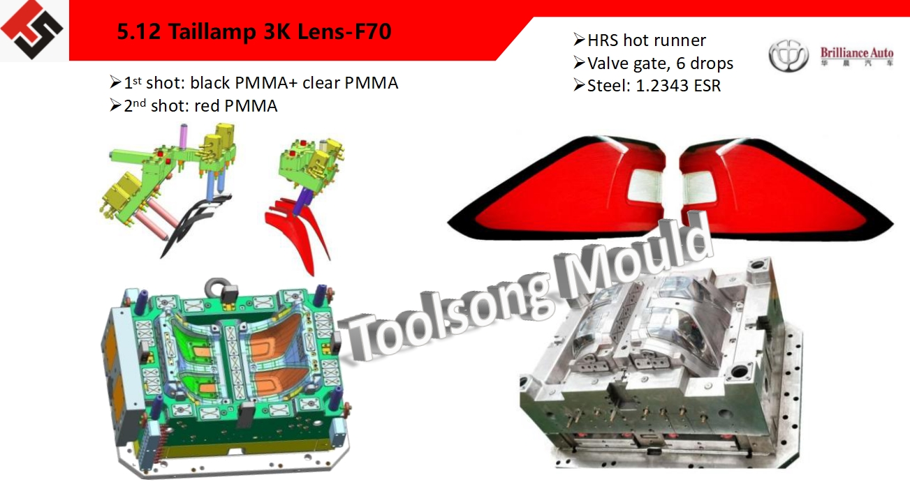 PMMA taillamp lens mould with multi colors