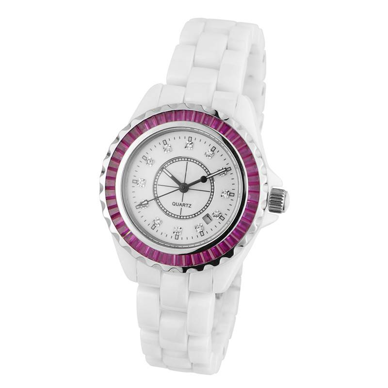 Luxury Type Ladies White Ceramic Quartz Wrist Watch With Calendar