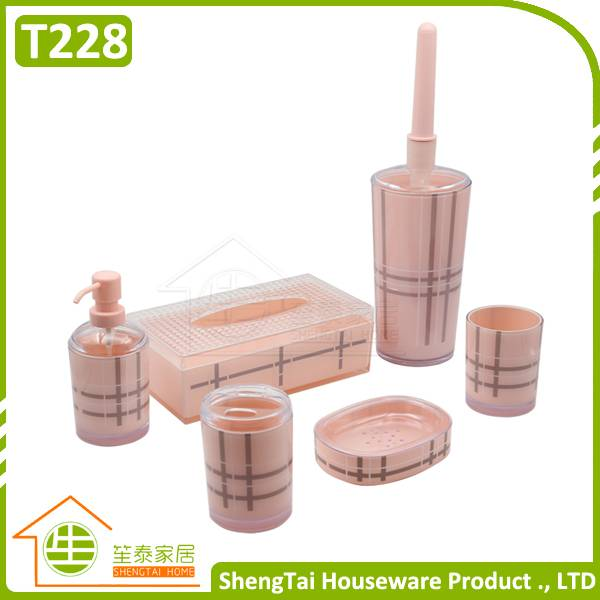 UK Fashion Grid Pattern Plastic Bathroom Accessory Set For Christmas Gift