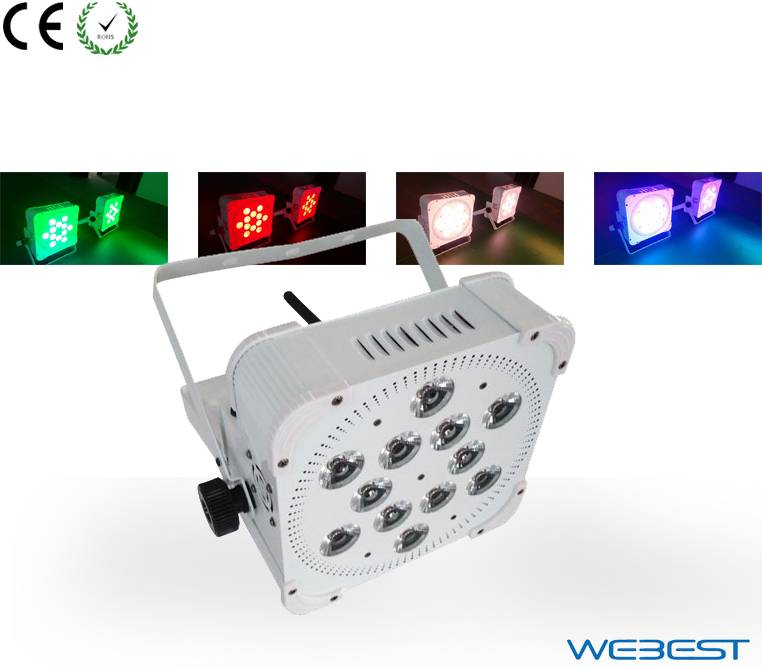 12 Lens RGBA  4W 4in1 LED Up Lighting Rechargeable Wireless DMX LED Par