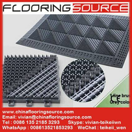 Interlocking 3 in 1 DIY Brush Floor Mat for entrance,wet area,garden