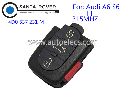 Model 4D0 837 231 M 315mhz Auto Remote Control 3+1 Buttons For Audi A6 S6 TT Car Keyless