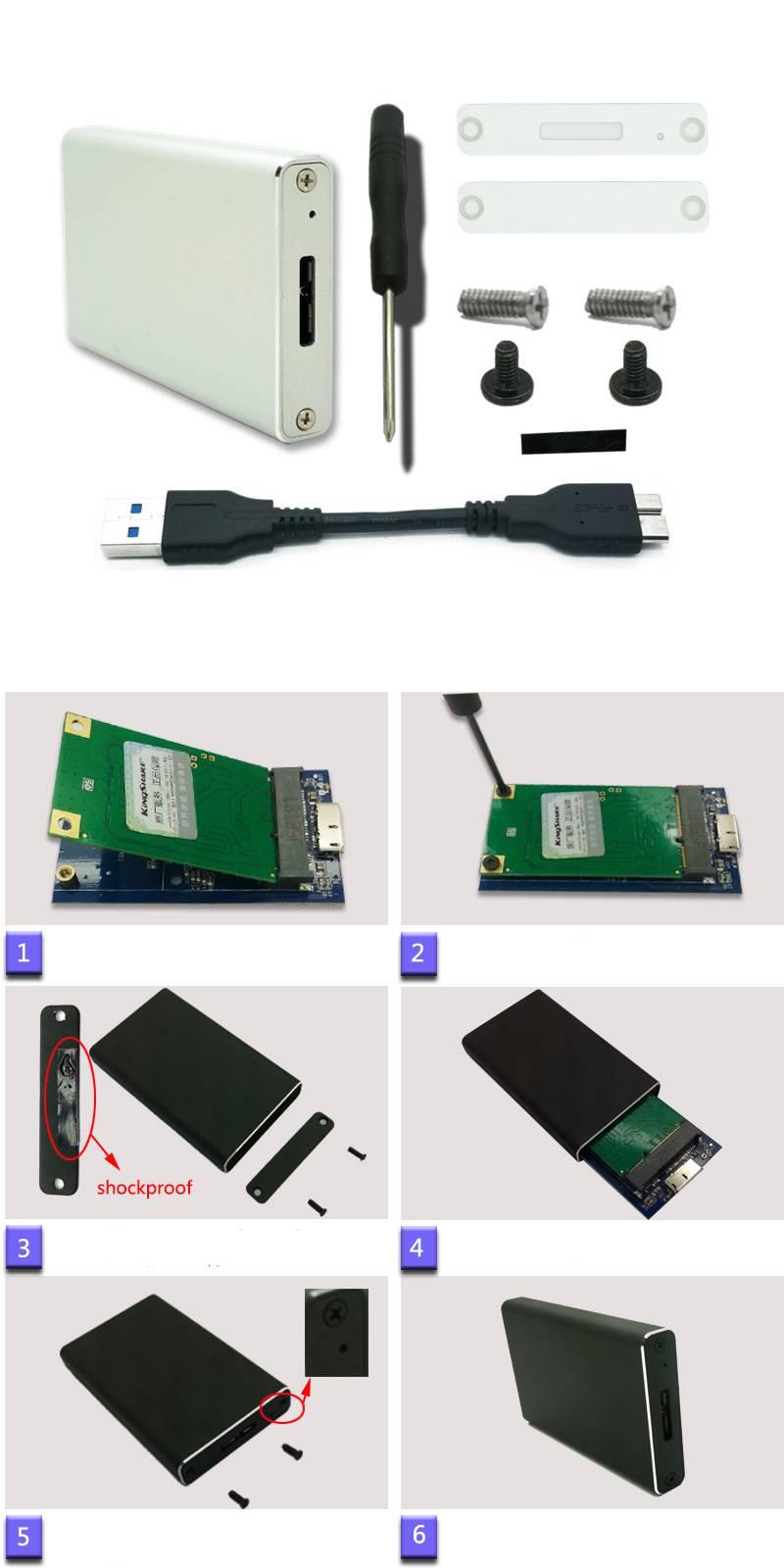 HDD Enclosure Black USB 3.0 Msata SSD Hard Disk Box External M-SATA converter adapter Aluminum Alloy