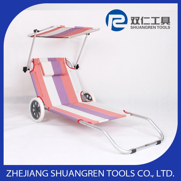 Folding Canopy Beach lounger with Wheels