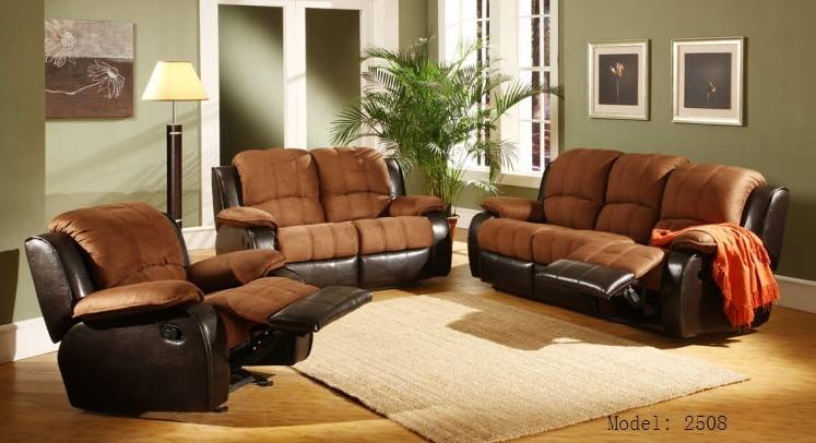 New designs home furniture leather and fabric recliner sofa