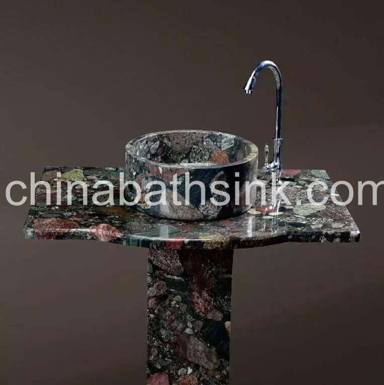 Colorful Granite Pedestal Sinks Vanity Top With Round Shape Basin