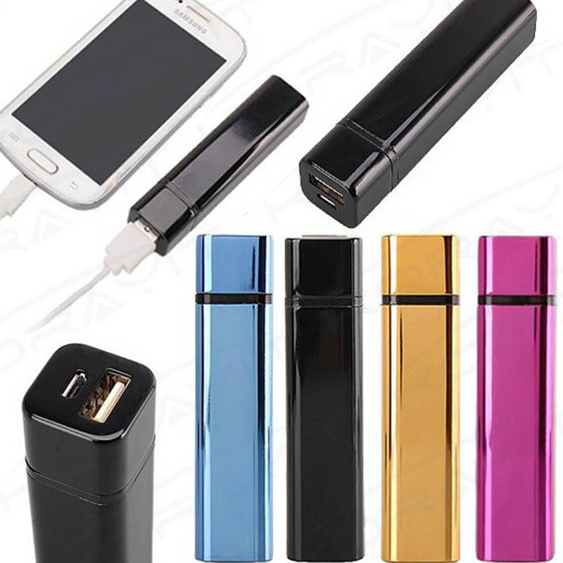 Metal Housing Lipstick Portable Power Bank 2200mAh, Lipstick 18650 Battery Power Bank 2200