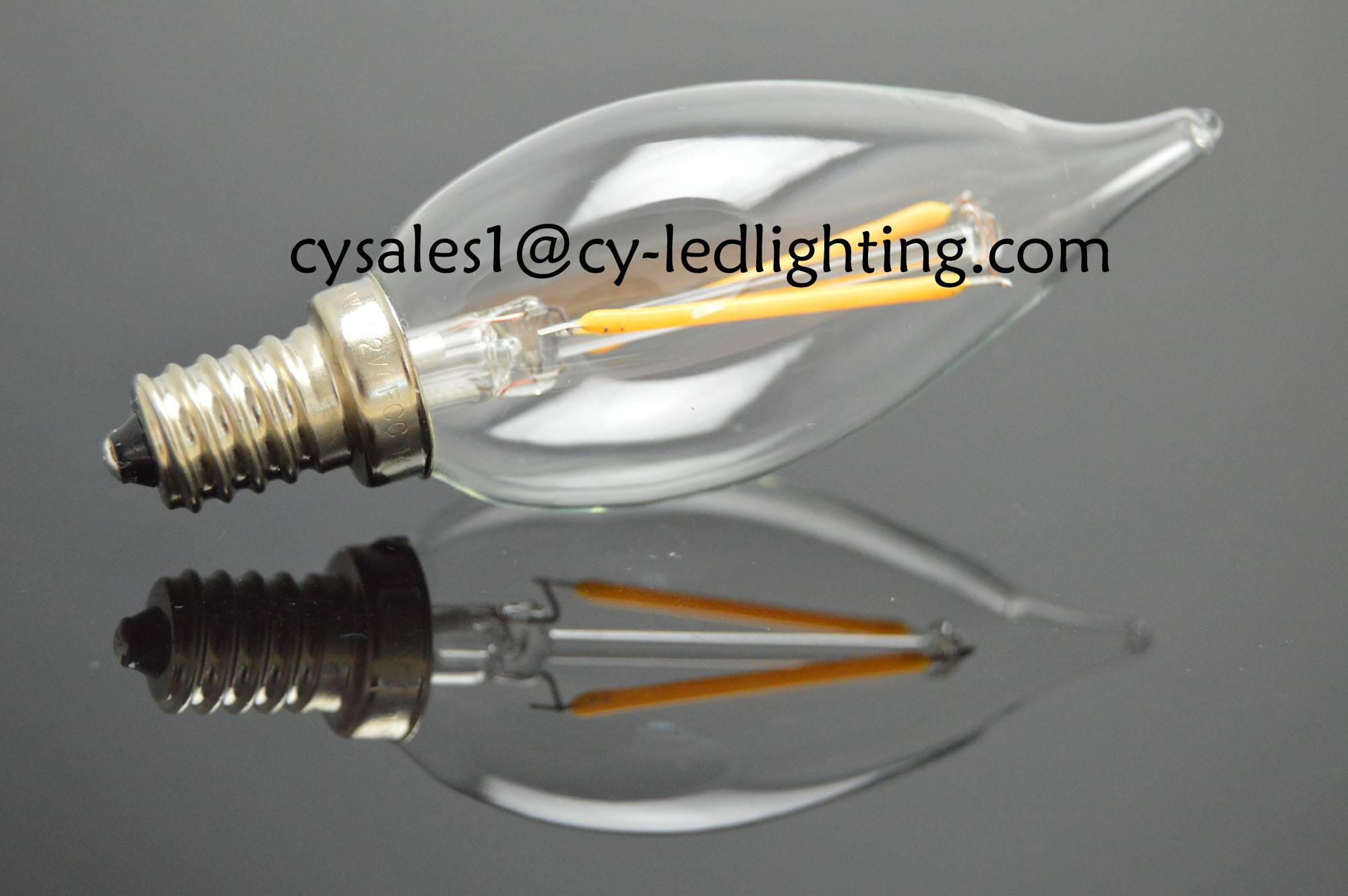 small bent tail candle bulb filament led clear bulb for church