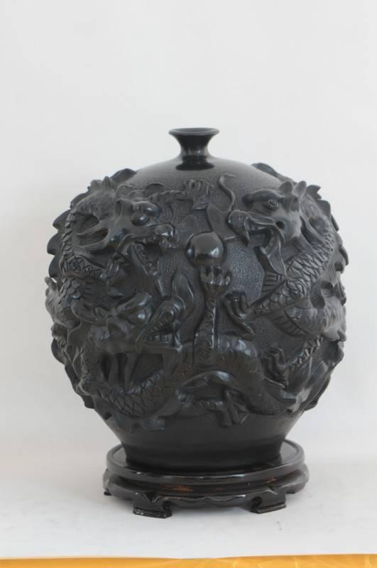 Shandong Longshan black pottery ceramic pottery vase retro ornaments, handicraft,  Wulong tank