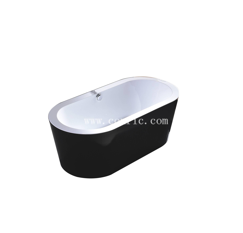 Black Simple Design Acrylic freestanding Bathtub