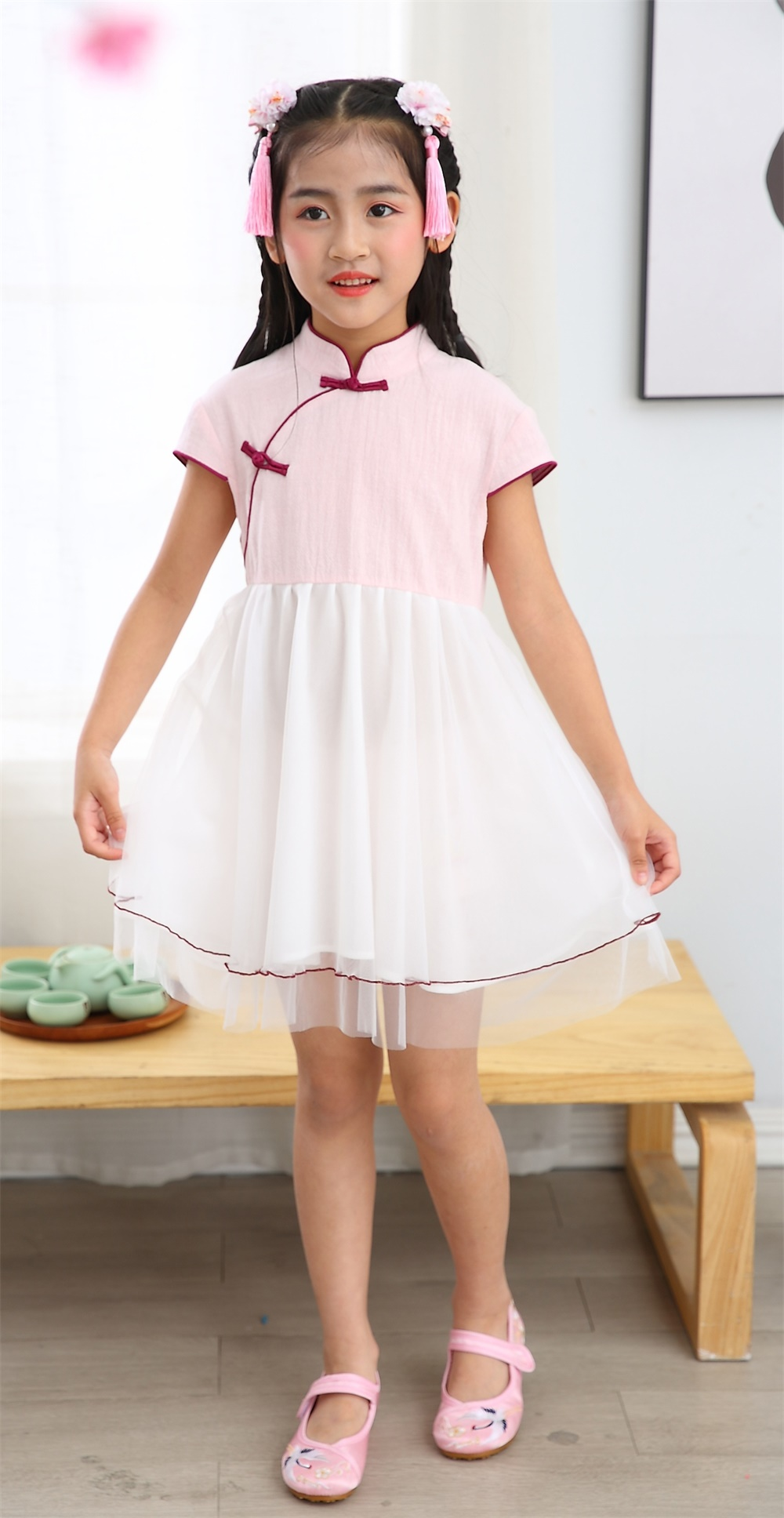 Girl summer short sleeve mandarin colar one piece sets Tang suit Chinese traditional Chinese cotton