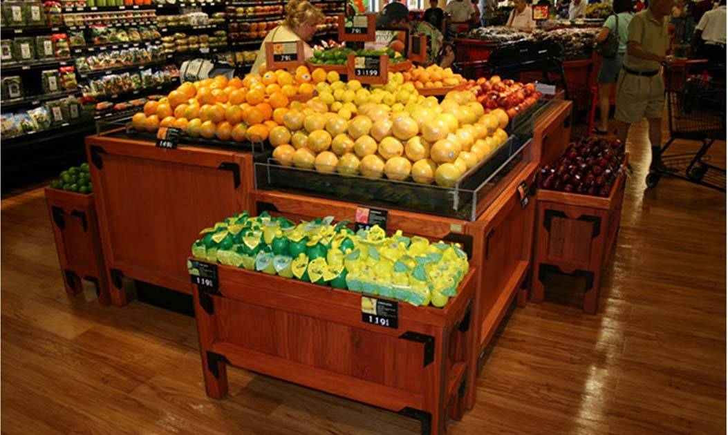 Produce Display Table, Solid Wood Orchard Bins