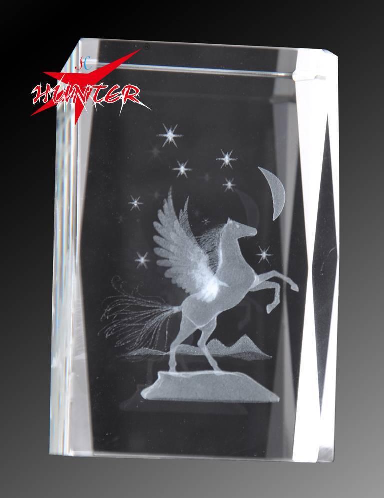 3D Laser Pegasus Crystal Block,K9 Block Crystal,Great Holiday Decoration