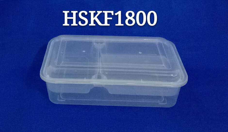 Rectangle Design Patented 1800ml Disposable PP Plastic Microwave Safe Dinnerware with Inner Tray