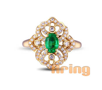 Wholesale 18k Gold Jewelry Synthetic Emerald Rings solid gold jewelry