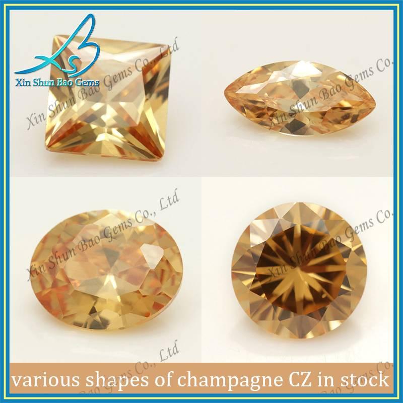 Custom Shapes Champagne CZ Wholesale Gems