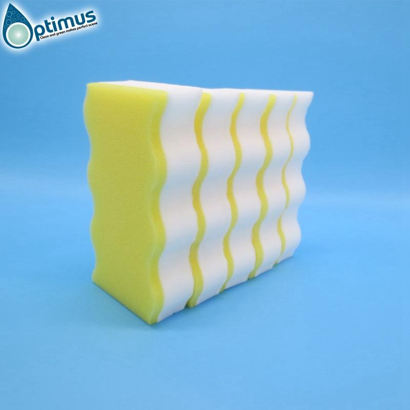 high density melamine sponge household cleaning sponge with yellow pu sponge
