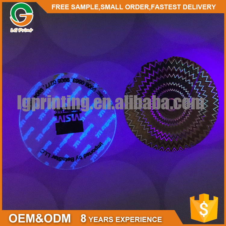 Laser 3d UV ink Anti-fake Hologram Sticker Label