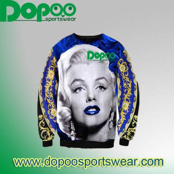 Designer fashion long sleeve round neck vintage washed cotton spandex french terry sweatshirt for la