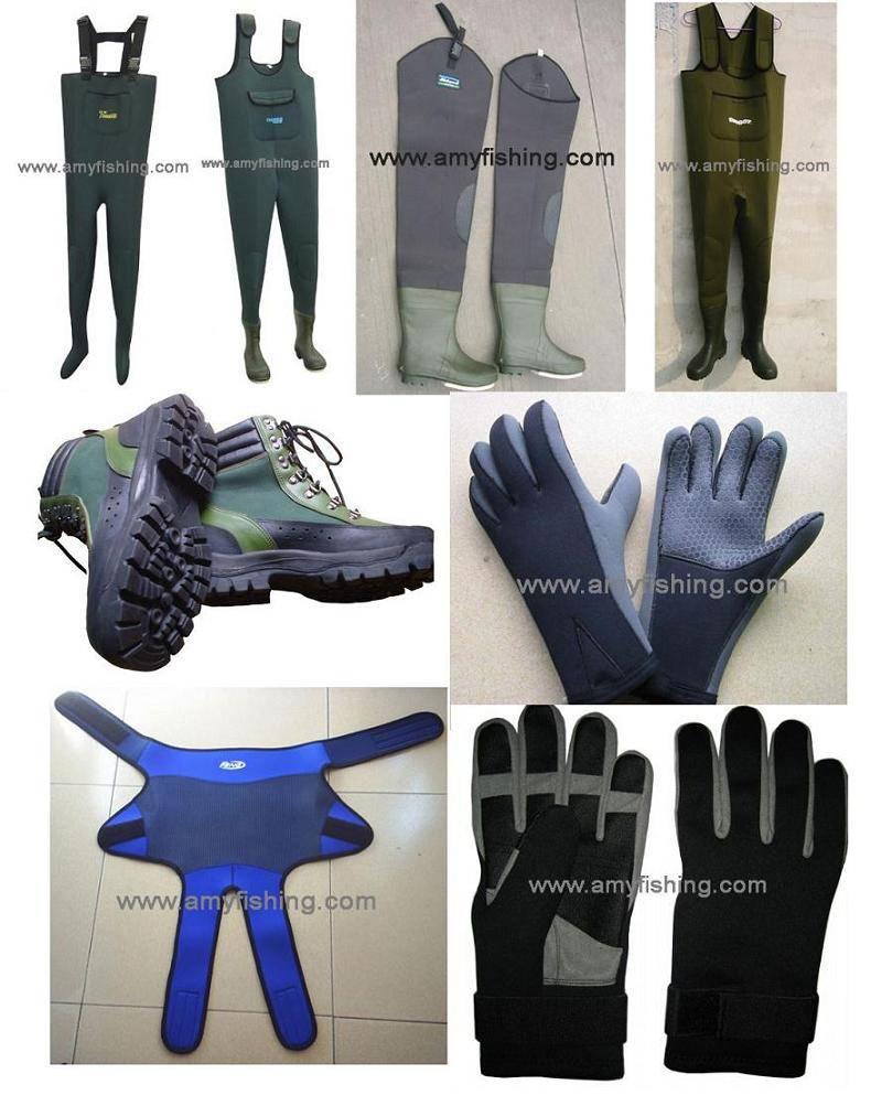 fishing wader, fishing boots, fishing gloves