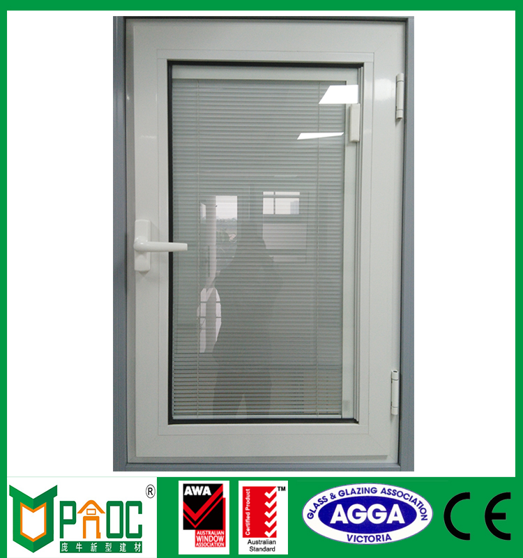 White powder coated double glass aluminum casement window with inside blind