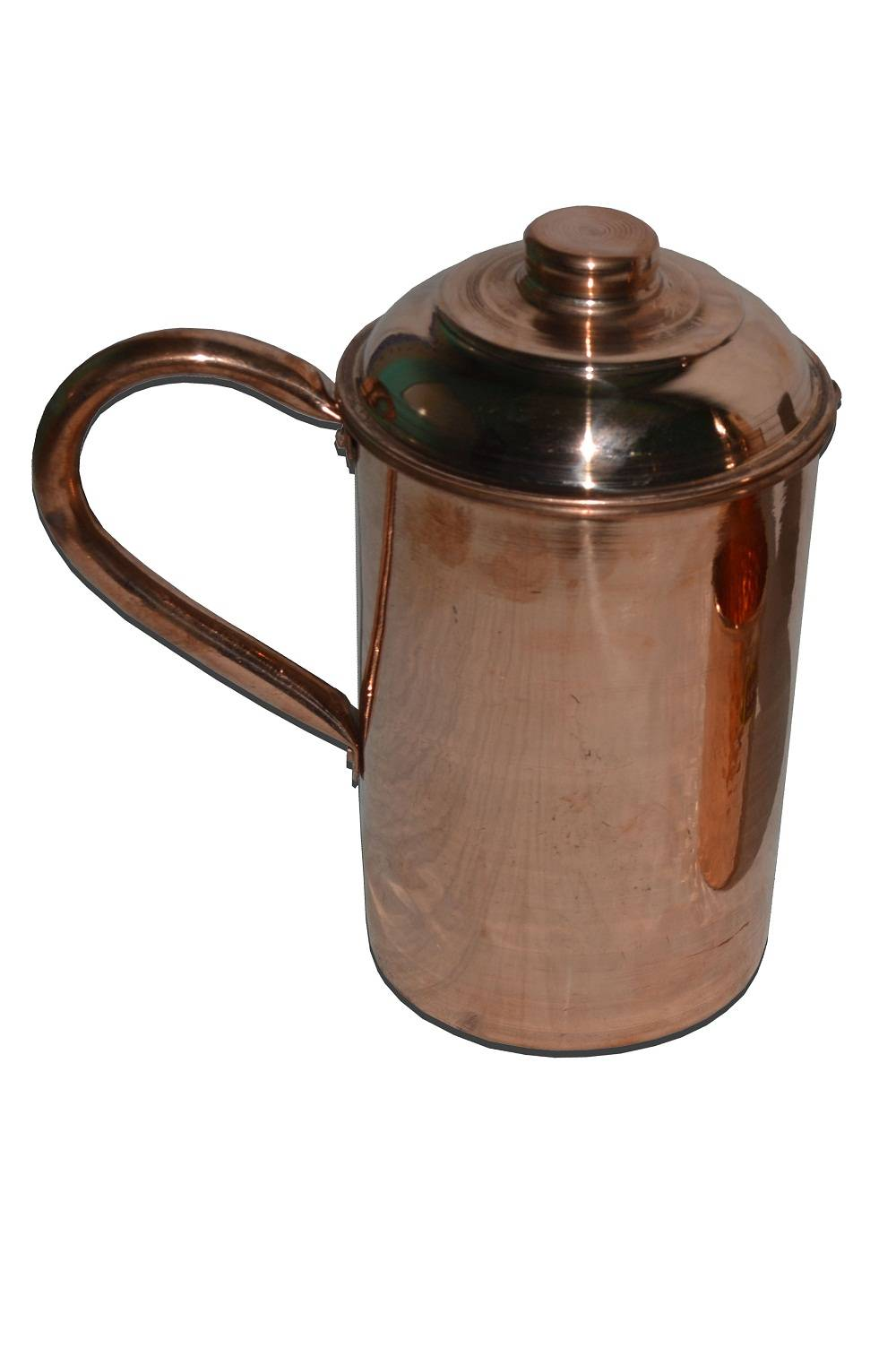 Raghav India 100% Genuine Pure Copper Curved Jug 1.6 Litre Capacity