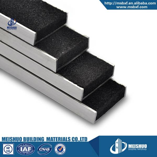 Recessed carborundum anti slip metal stair nosing