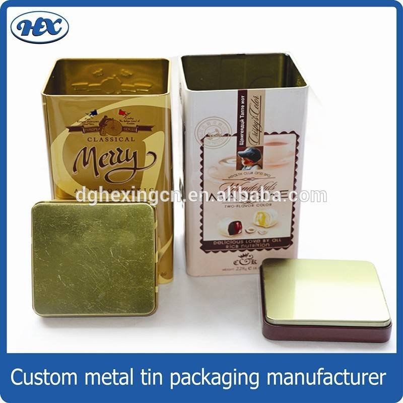 Square coffee tin box with seamless lid