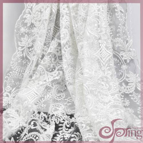 White embroidery mesh fabric, bridal sequin lace fabric