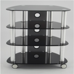 wheel glass tv stand