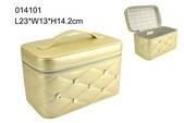 Mother's Day Trade assurance 2015 good quality ivory PU leather cosmetic box sewing with diamond