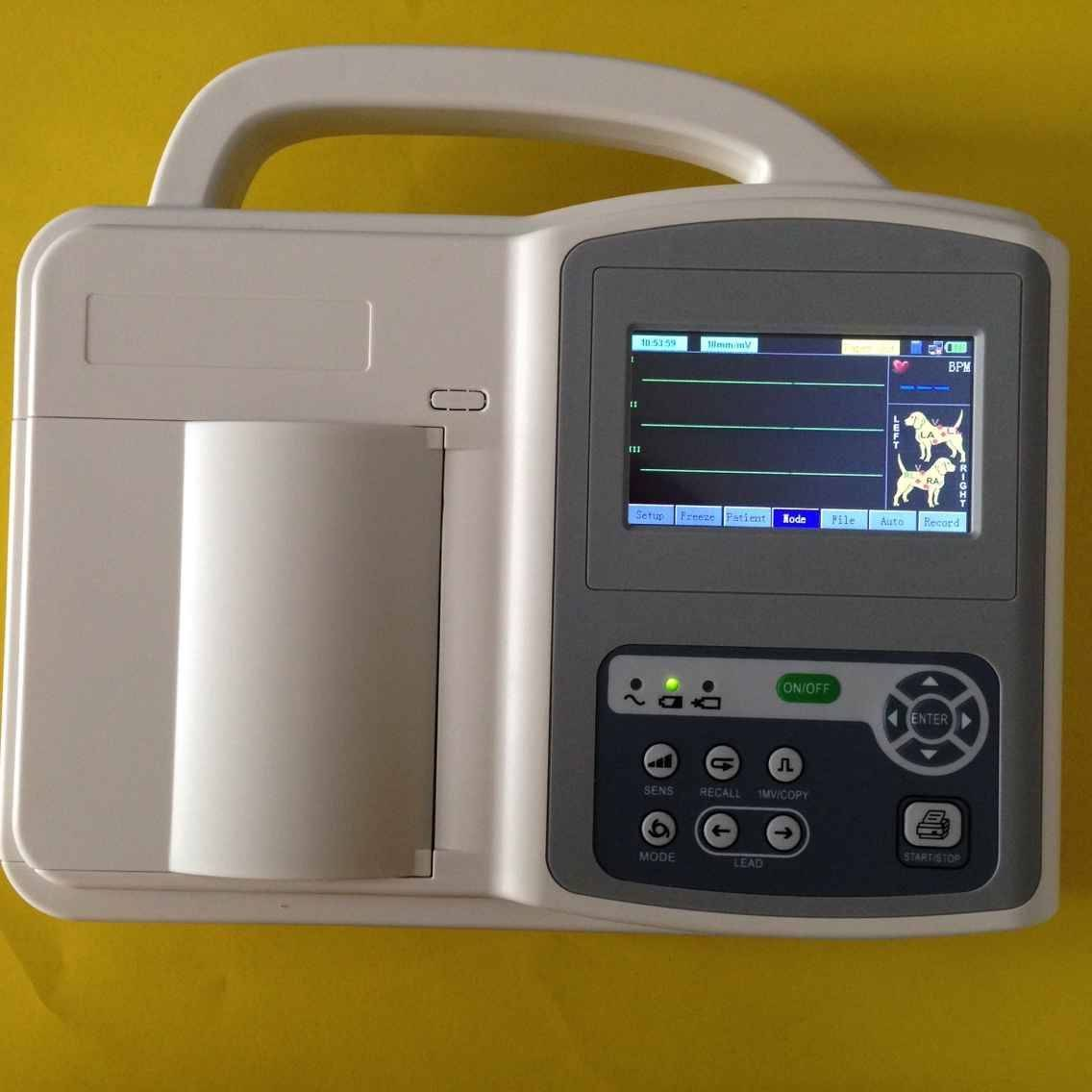 Three channels ECG machine for veterinary use