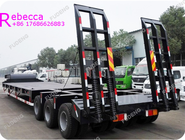 3 axle 60tons lowboy semi trailer low bed trailer with side piles