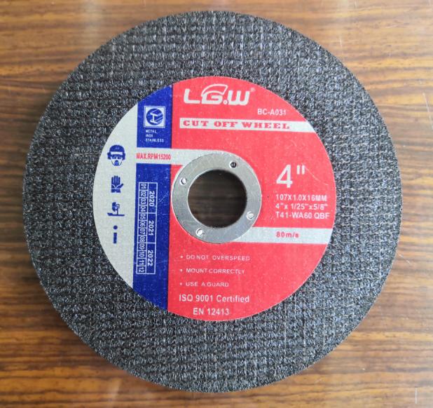 4Inch 107X1.0X16MM Black Color Double Net Super Thin Cut off wheel