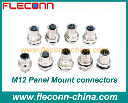 M12 Panel Mount Connector 3 4 5 6 8 PIN IP67 Waterproof Rate