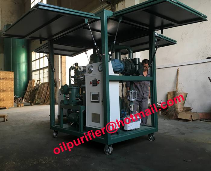Newly Gas Strut Enclosed Cover Transformer Oil Filtration Plant, vacuum oil cleaning system with SIM