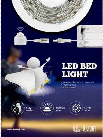 Bed sensor light body sensing automatic shut off for single bed