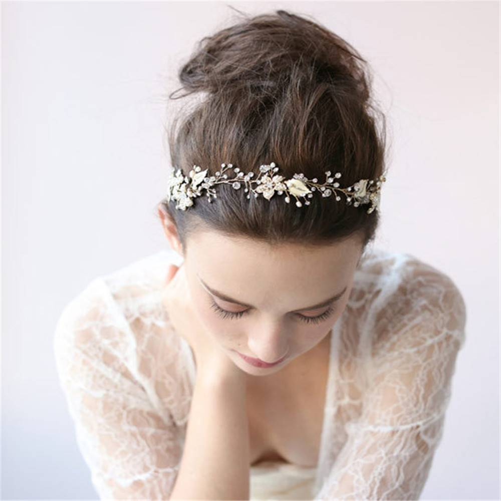 Europe and the United States handmade beaded diamond crystal bride hair ribbon hair head ornaments