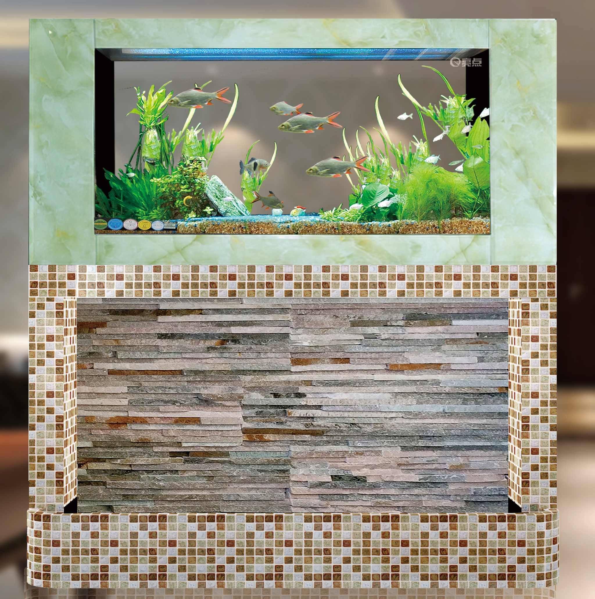 Ceramic flowers mosaic + jade grain glsss waterfall