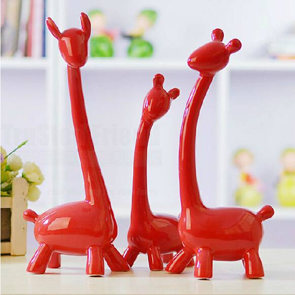 New arrival fashion 3 deer family home ceramic decoration pottery deer