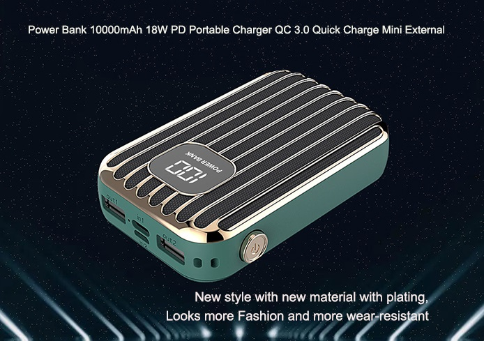 Power Bank 10000mAh 18W Pd Portable Charger QC 3.0 Quick Charge Mini External